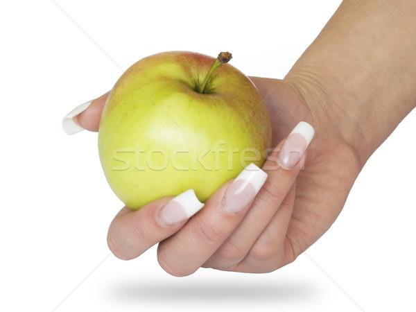 Appel hand groene rode appel schoonheid Stockfoto © tuulijumala