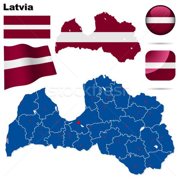Letland vector ingesteld gedetailleerd land vorm Stockfoto © tuulijumala