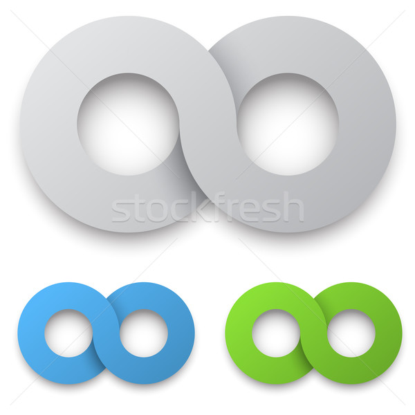 White 3D infinity sign with color variants Stock photo © tuulijumala