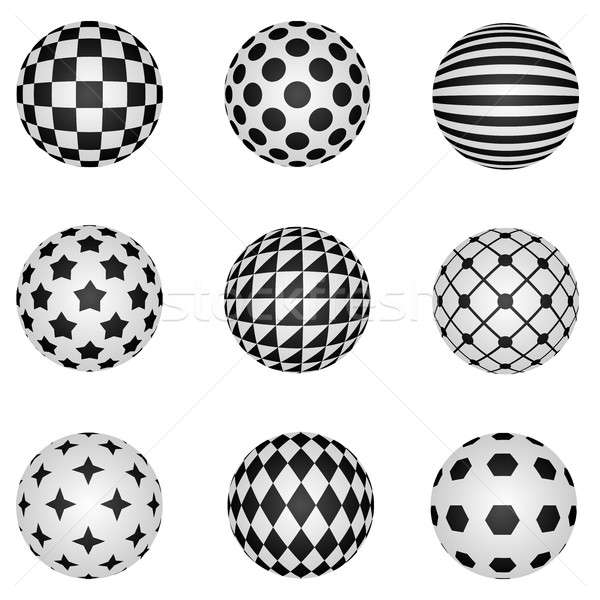 Black and white 3D patterned sphere vector design elements. Stock photo © tuulijumala