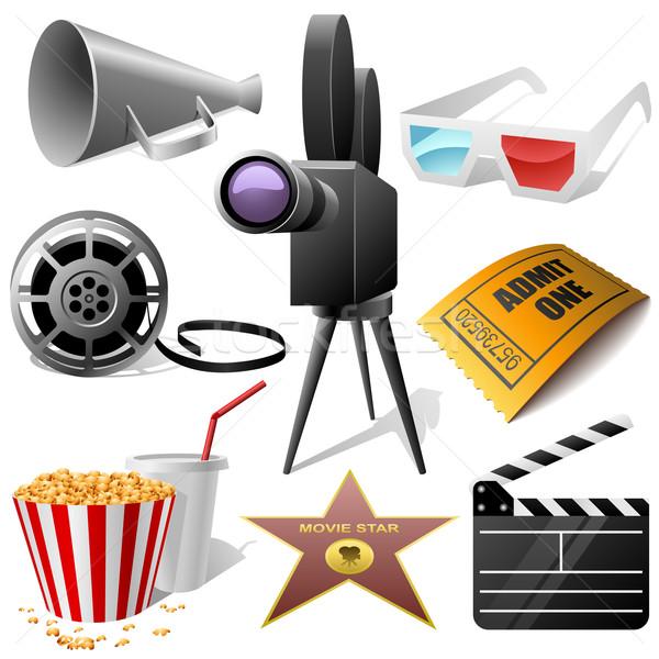 Bioscoop symbolen vector ingesteld geïsoleerd witte Stockfoto © tuulijumala