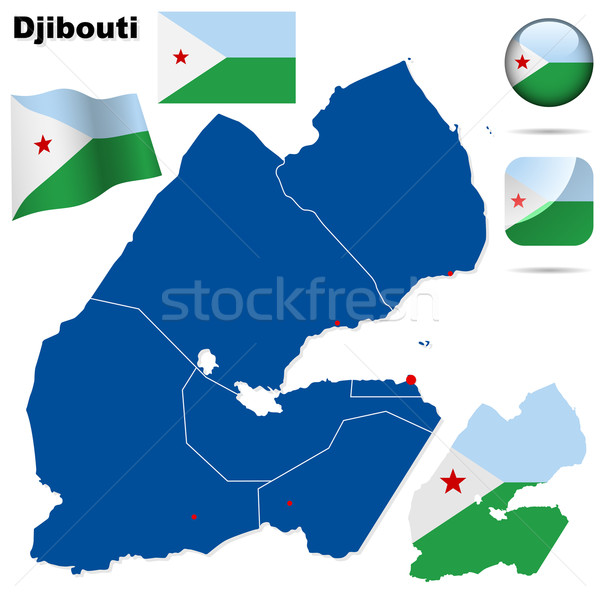 Djibouti vector set. Detailed country shape with region borders, Stock photo © tuulijumala
