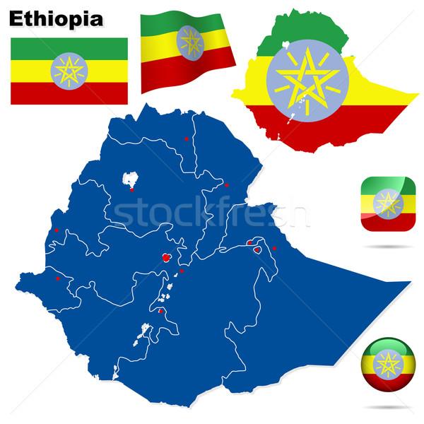 Etiopia wektora zestaw szczegółowy kraju Zdjęcia stock © tuulijumala