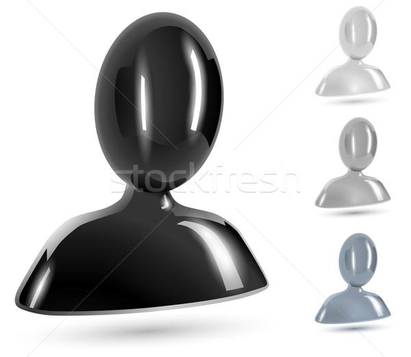 Abstract gebruiker zwart wit grijs glanzend iconen Stockfoto © tuulijumala