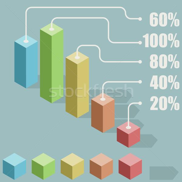 Abstract flat 3D bar graph vector template. Stock photo © tuulijumala