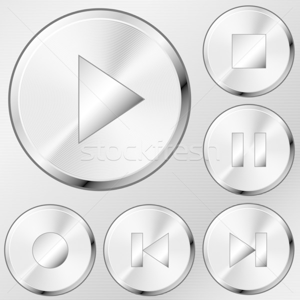 Media buttons vector set in brushed steel style. Stock photo © tuulijumala