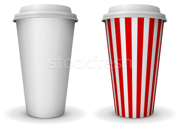 Take-away fast food coffee paper cup vector template. Stock photo © tuulijumala