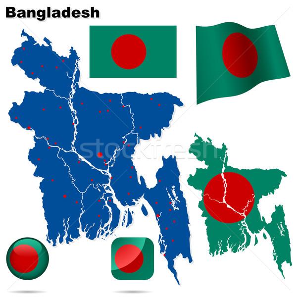 Foto stock: Bangladesh · vetor · conjunto · detalhado · país · forma