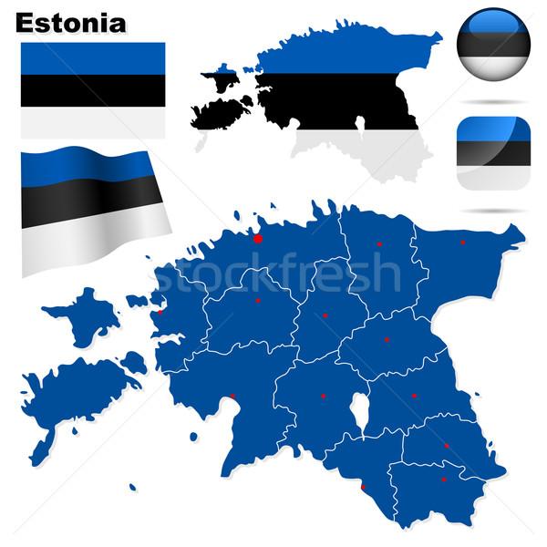 Stock fotó: Észtország · vektor · szett · részletes · vidék · forma