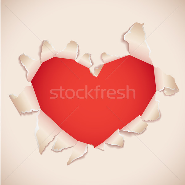 Heart shaped torn paper with red copy space . Valentine's card Stock photo © tuulijumala