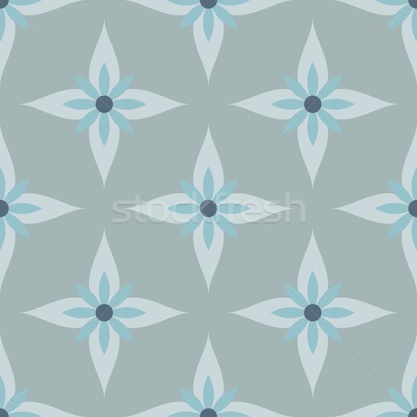 Seamless abstract blue and gray flowers vector pattern. Stock photo © tuulijumala
