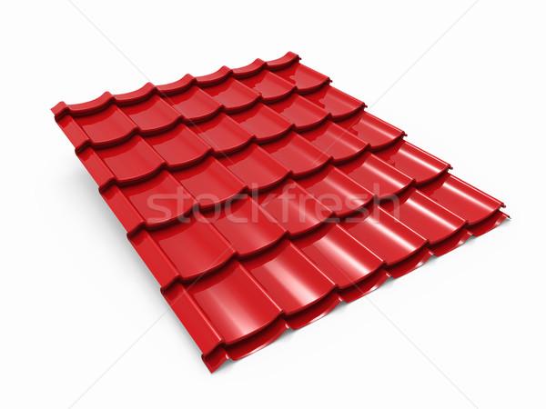 Red metal tile sheet isolated on white background. Stock photo © tuulijumala