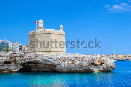 Rhodes sea fortress with old town in the background, Greece. Stock photo © tuulijumala