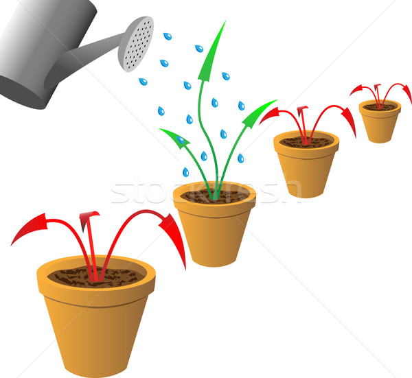 Red withered and green growing arrows in flowerpots. Stock photo © tuulijumala