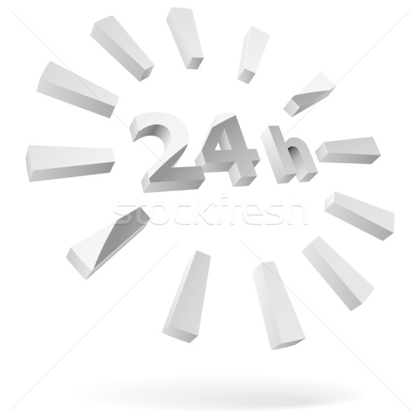 24 hours steel 3D icon isolated on white.   Stock photo © tuulijumala