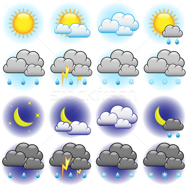 Weather vector icons set isolated on white background. Stock photo © tuulijumala