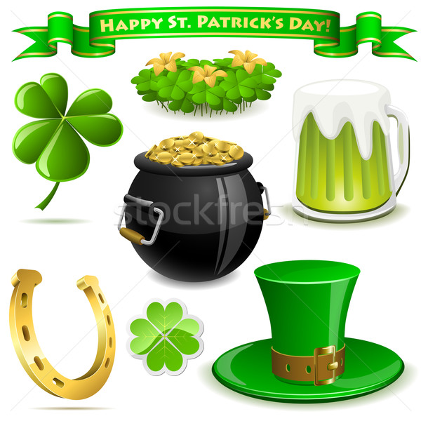 Saint Patrick's Day symbols vector set  isolated on white. Stock photo © tuulijumala