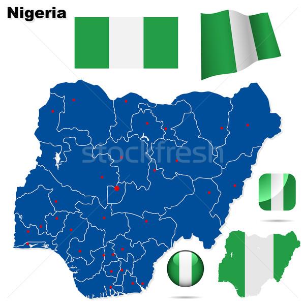 Nigéria vetor conjunto detalhado país forma Foto stock © tuulijumala
