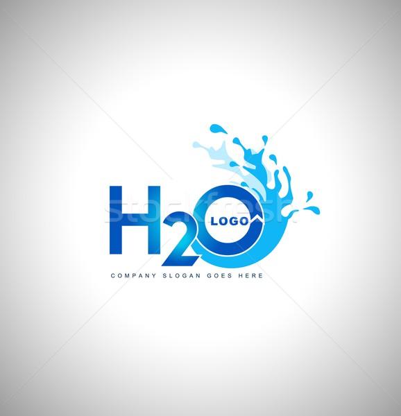 Agua logo vector azul gotas Foto stock © twindesigner