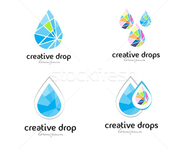 капли воды логотип вектора Creative аннотация Логотипы Сток-фото © twindesigner