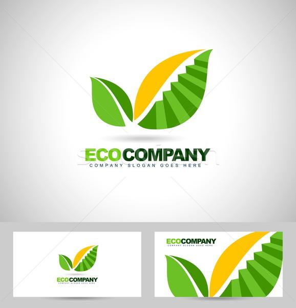 Feuille logo escaliers Creative vecteur feuille verte Photo stock © twindesigner