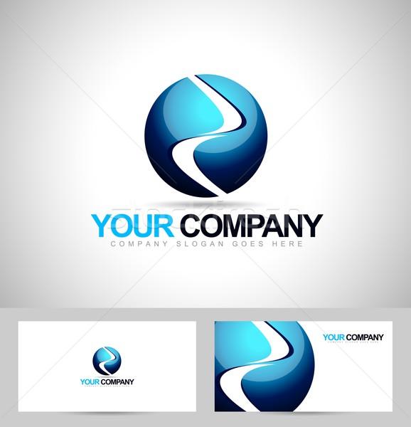 Gömb logoterv logo kreatív vektor ikon Stock fotó © twindesigner