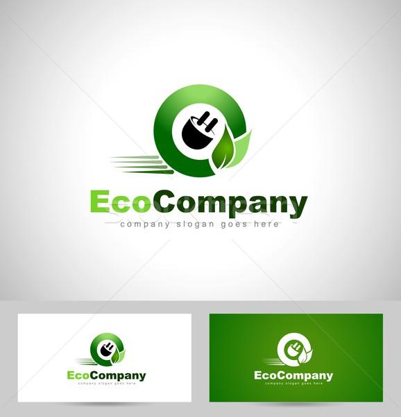 Eco elettrica logo creativo auto ruota Foto d'archivio © twindesigner