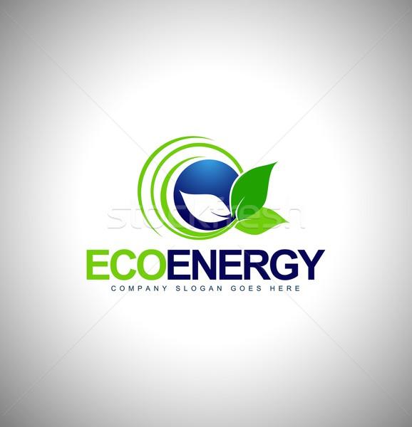 Эко энергии логотип лист вектора бизнеса Сток-фото © twindesigner