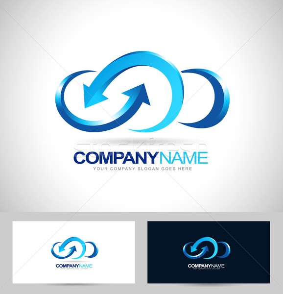 Nuage conception de logo Creative vecteur icône bleu Photo stock © twindesigner