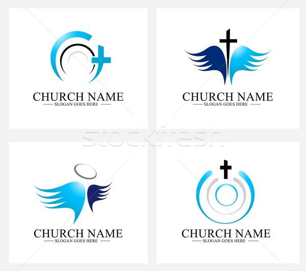 Церкви логотип дизайн логотипа набор Creative христианской Сток-фото © twindesigner
