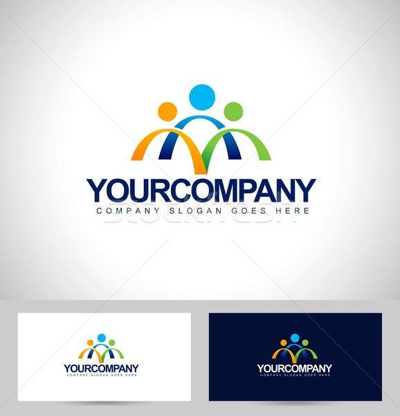 люди дизайн логотипа визитной карточкой шаблон фон Сток-фото © twindesigner