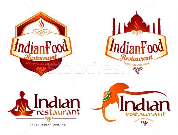 Comida indiana logotipo criador restaurante vetor modelo Foto stock © twindesigner