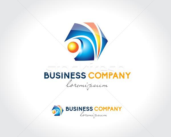 Soyut iş logo dizayn yaratıcı logo tasarımı mavi Stok fotoğraf © twindesigner