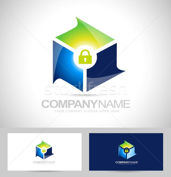 Sécurisé conception de logo sécurité design antivirus Photo stock © twindesigner