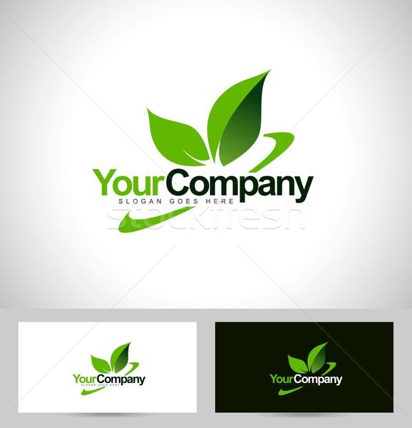 зеленый лист логотип вектора компания название текста Сток-фото © twindesigner