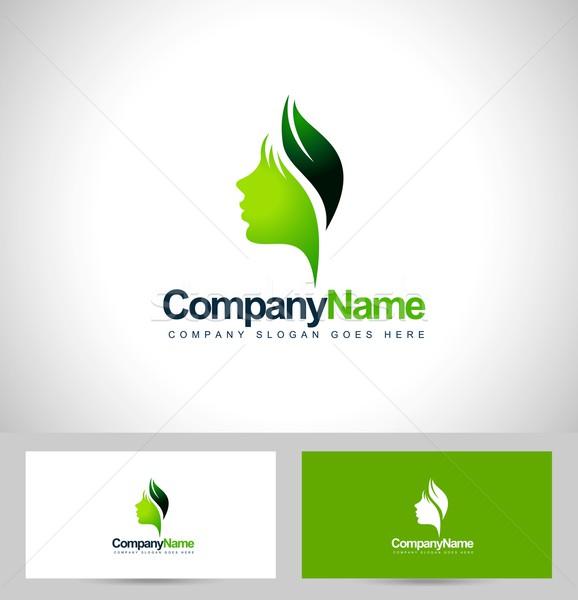 лист лице логотип вектора Creative зеленый лист Сток-фото © twindesigner