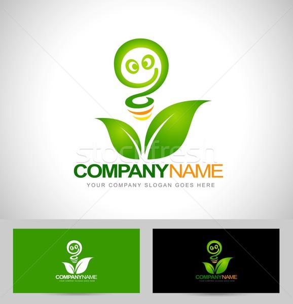 Groene energie logo hernieuwbare energie logo-ontwerp visitekaartje sjabloon Stockfoto © twindesigner