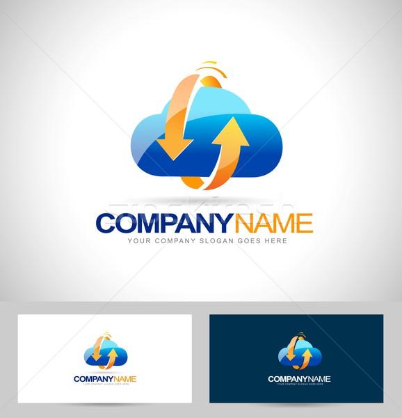 облаке хранения логотип вектора аннотация Стрелки Сток-фото © twindesigner