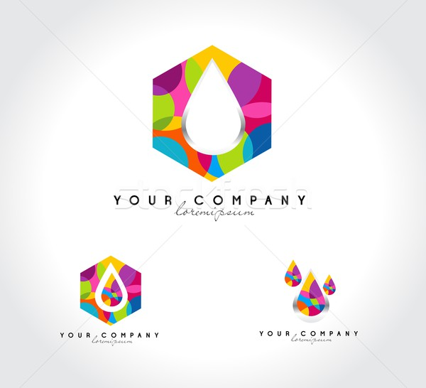 Goutte d'eau résumé logo entreprise coloré conception de logo Photo stock © twindesigner