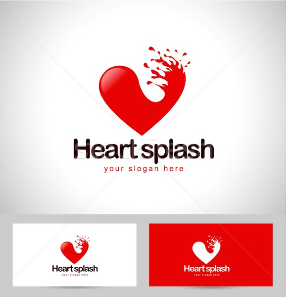Rouge coeur logo Creative Splash carte de visite Photo stock © twindesigner