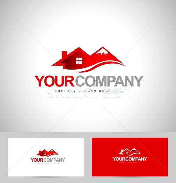 Maison conception de logo design immobilier vecteur montagne Photo stock © twindesigner
