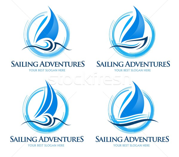 Voile bateau logo Creative vecteur design Photo stock © twindesigner