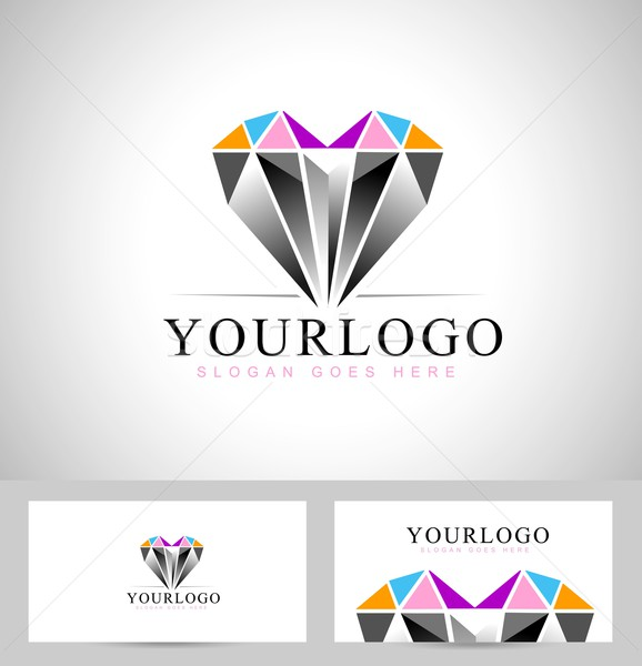 Diamant conception de logo vecteur design logo forme Photo stock © twindesigner