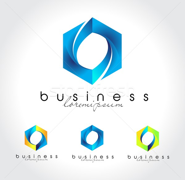 Bleu vecteur Creative entreprise logo Photo stock © twindesigner