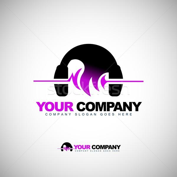 музыку логотип наушники Creative вектора наушников Сток-фото © twindesigner