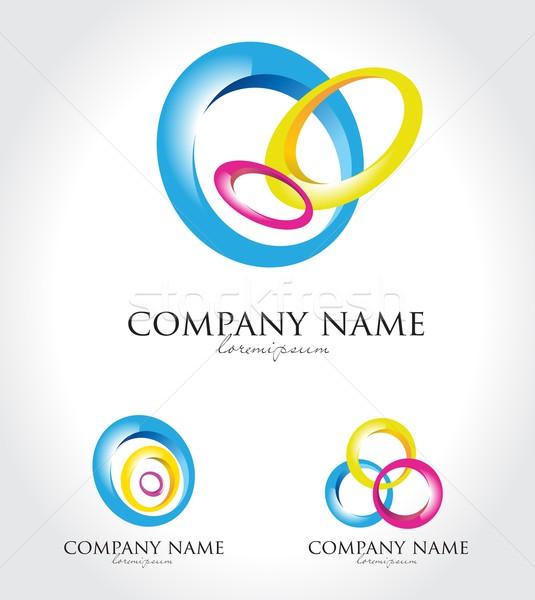 красочный Круги логотип Creative аннотация Логотипы Сток-фото © twindesigner
