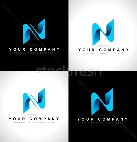 логотип аннотация дизайн логотипа черно белые синий Сток-фото © twindesigner
