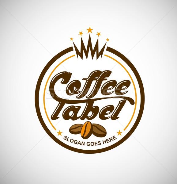 кофе логотип вектора Creative Label бизнеса Сток-фото © twindesigner