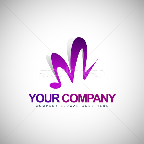 буква М логотип музыку вектора икона компания Сток-фото © twindesigner