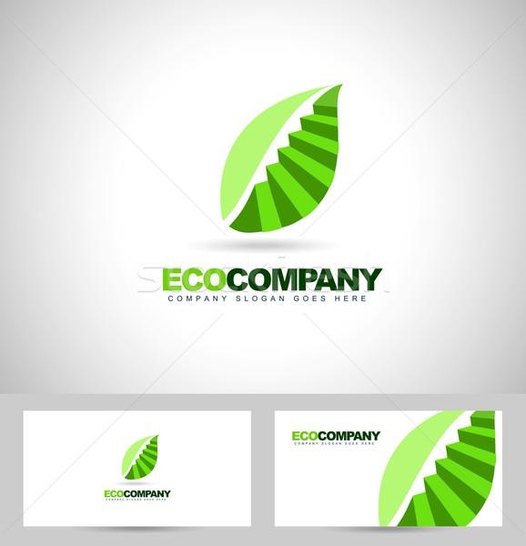лист логотип лестницы Creative вектора зеленый лист Сток-фото © twindesigner